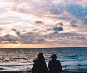 sky, couple, and beach image