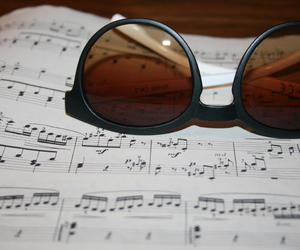 music, piano, and sunglasses image