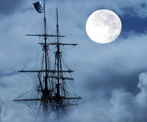 pirate, ship, and moon image
