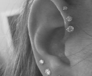black and white, earring, and tumblr image
