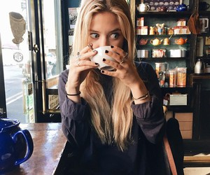 girl, coffee, and hair image