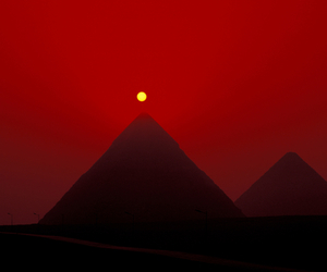 red, pyramid, and dark image
