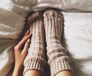 autumn, socks, and bed image