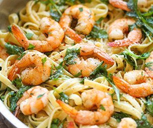 food, pasta, and shrimp image