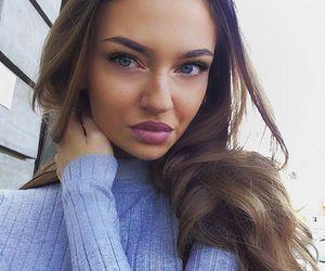 blue eyes, full lips, and brunette image
