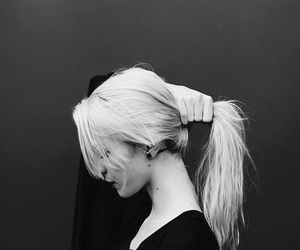 abstract, blackandwhite, and blonde image