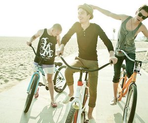boy, bike, and friends image