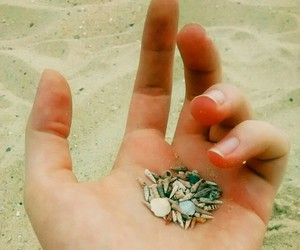 beach, hand, and lovely image