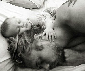 baby, daddy, and black and white image