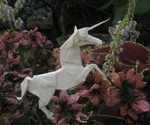 unicorn, flowers, and origami image