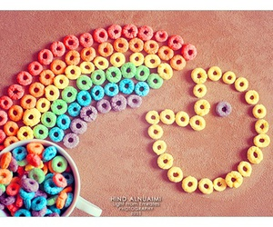 pacman, cereal, and rainbow image