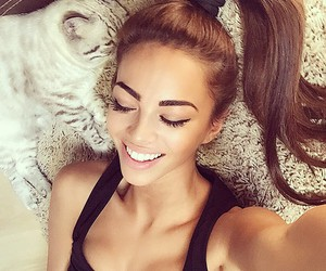 girl, cat, and beauty image