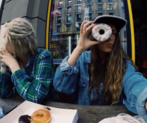 girl, beautiful, and donut image