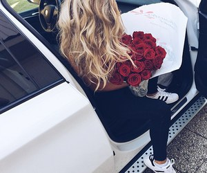 girl, car, and rose image