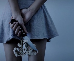 flowers, knife, and grunge image