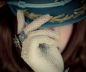 girl, hat, and gloves image
