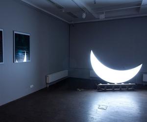 moon, light, and dark image