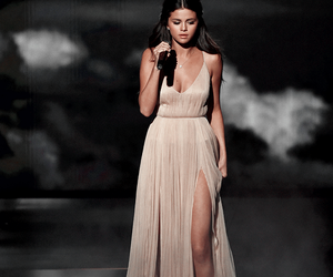 clouds, gown, and Selena Gomes image