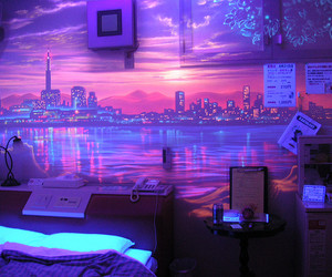 light, purple, and room image