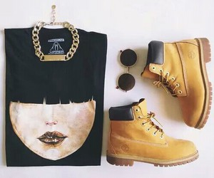 fashion, outfit, and timberland image