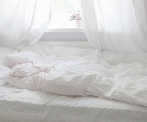white, bed, and bedroom image