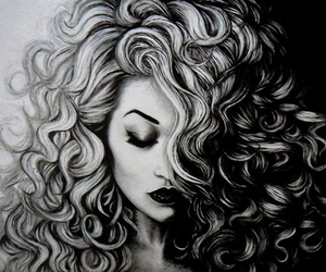 art, black and white, and hair image