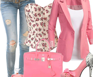 jeans, pink, and shoes image