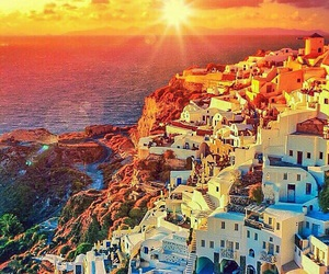 sunset, travel, and sea image