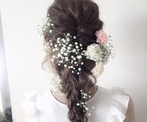 hair, cute, and flowers image