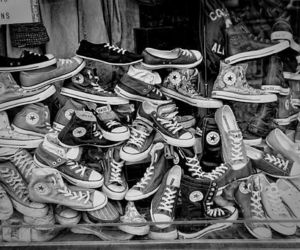 black and white, chuck taylor, and converse image