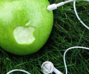apple, earphones, and funny image