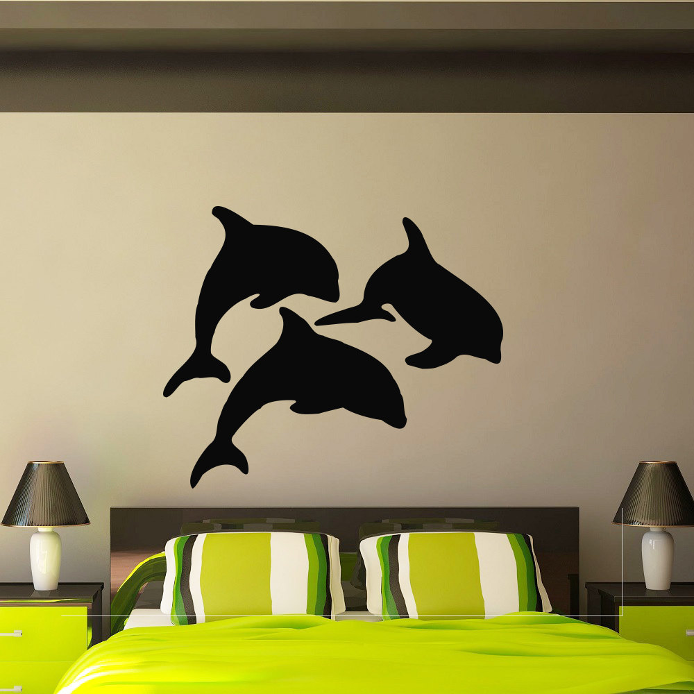 Dolphin wall decal vinyl stickers ocean sea animal wisdomdecals amipublicfo Image collections