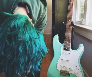 hair, guitar, and blue image