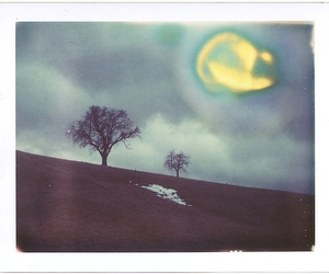 clouds, landscape, and polaroid image