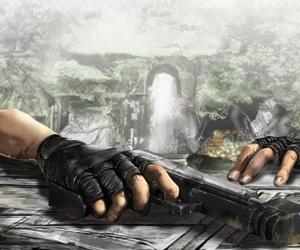 guns, jungle, and lara croft image