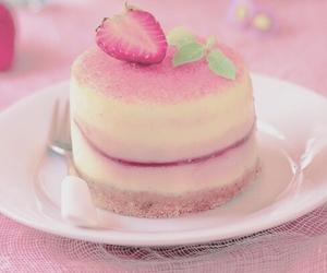 cake, strawberry cake, and food image