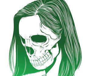 skull, girl, and drawing image
