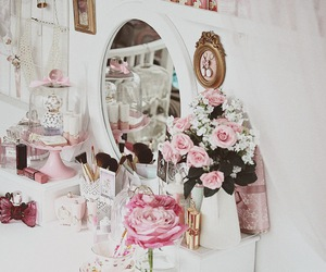 flowers, miroir, and girly image