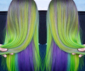 green hair, hair, and purple image