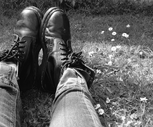 black, b&w, and boots image