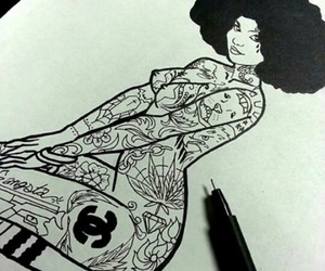 Afro, black, and draw image