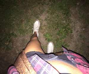 converse, flannel, and night image