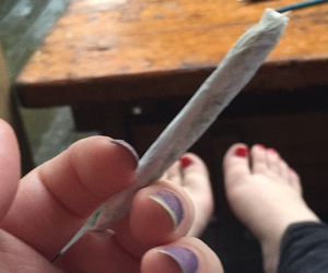 girl, weed, and joint image