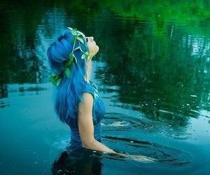 blue, water, and hair image