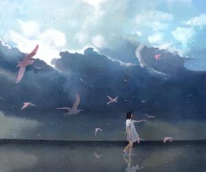 art, sky, and birds image