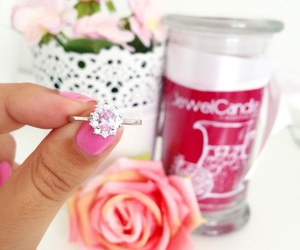 candle, diamond, and flowers image