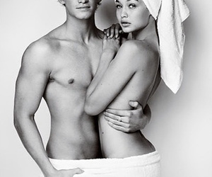 black and white, photoshoot, and towel image