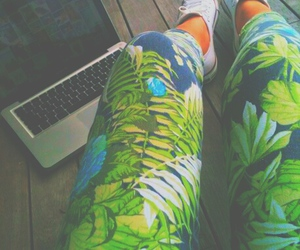 converse, leggings, and green image