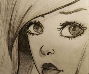 drawing, eyes, and hair image