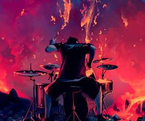 art, drums, and fire image